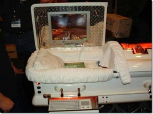 Or for the mouse potato in your life, there's this computer coffin to help while away the hours waiting for rescue. Image found on io9.