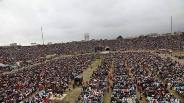 Peruvian prayer rally for Li'l Kimmy? Not so much; more like a 2014 Worldwide Missionary Movement convention in Peru. Awwww, sorry, Kimmy! Image found on Talking Points Memo.