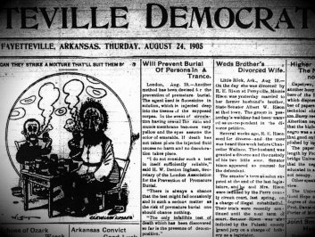 I don't know if I'm more concerned about the quacks responsible for the premature burial story, or the odd picture next to it. Image provided by John Marinoni of Fayetteville.