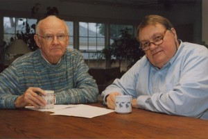 Charles Allbright (left) and Richard Allin donated their papers to the University of Central Arkansas in 2004 after their columns ended. Photo by Russ Hancock found on Arkansas Times.