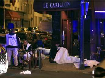 Victims lay on the pavement outside a Paris restaurant as police officials in France on Friday report multiple terror incidents, leaving many dead. The victims should be our primary concern, not blaming all members of one religion. Photo by Thibault Camus, Associated Press.