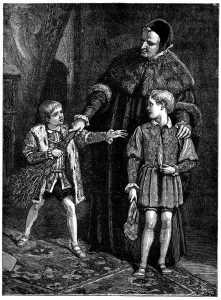 """""""This will hurt me more than it does you, my friend."""" """"Screw you, princey-boy!"""" Image found on StrangeHistory."""