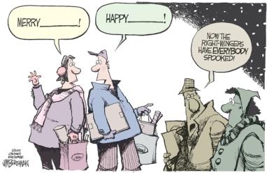 "I dare you to say ""Happy Festivus!"" Editorial cartoon by Jim Borgman, Cincinnati Enquirer."