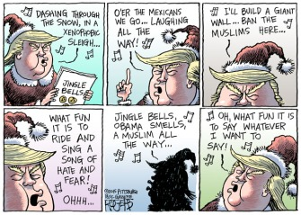 I dunno ... seems a little tame for The Donald ... Editorial cartoon by Rob Rogers, Pittsburgh Post-Gazette.