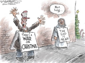 Yeah, when the prophet of doom calls you a nut bag, you're a nut bag. Editorial cartoon by Nick Anderson, Houston Chronicle.