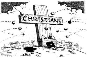In many parts of the world, you risk your life by being a Christian. In the U.S., not so much. Editorial cartoon by Tayo Fatunla, Cartoon Movement.