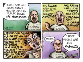 But me, paranoid? C'mon! Editorial cartoon by Andrew David Cox, Camel City Dispatch.