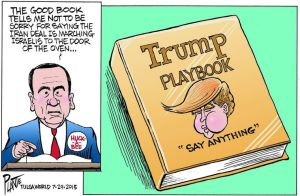 Oh, Huckster ... you were out-huckstered ... Editorial cartoon by Bruce Plante, Tulsa World.