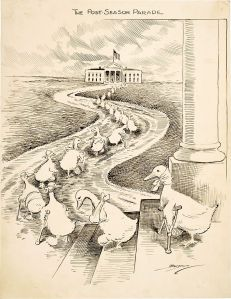 Duck soup, anyone? Editorial cartoon by Clifford Kenneth Berryman depicts defeated Democrats heading to the White House in hopes of an appointment to the Wilson administration. Image found on Wikimedia Commons.