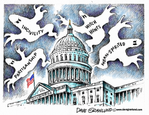And the ghosts aren't even the scary part ... Editorial cartoon by Dave Granlund.