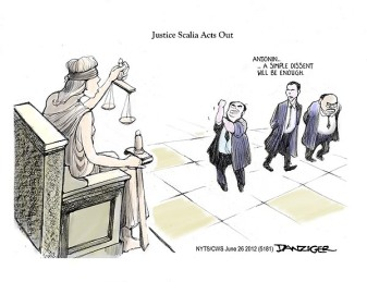Gosh, Mr. Justice Scalia, tell us how you really feel! Editorial cartoon by Jeff Danziger.