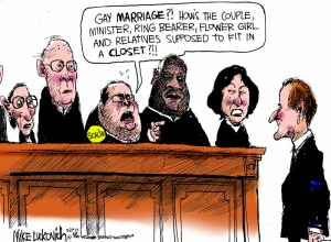 That's just nuts! Why can't they just marry people they barely tolerate like the rest of us? Editorial cartoon by Mike Luckovich, Atlanta Journal-Constitution.