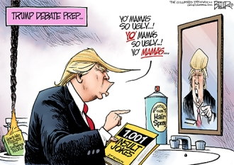 You'd think that if he prepared that much he wouldn't keep repeating himself ... oh, wait ... that didn't help Rubio, did it? Editorial cartoon by Nate Beeler, Columbus Dispatch.