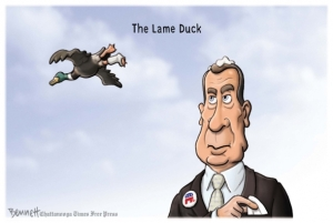 A lame duck still has some ammo left ... Editorial cartoon by Clay Bennett, Chattanooga Times-Free Press.