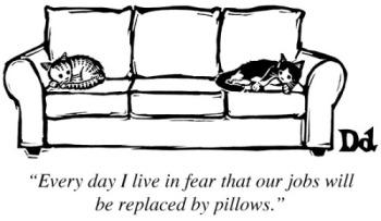 Luke already is a pillow ... a fluffy, FLUFFY pillow. Cartoon by Drew Dernavich.