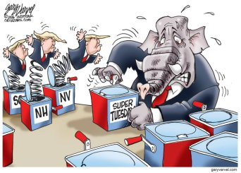 """Never before has """"Pop Goes The Weasel"""" been more appropriate. Editorial cartoon by Gary Varvel, Indianapolis Star."""