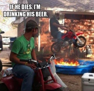 Even if he doesn't die, that beer is toast. Image found on dumpaday.