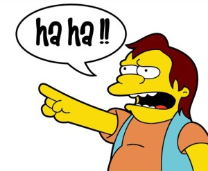 Nelson Muntz laughs at your pain over April 1 not being on a Wednesday! Image found on Pando.