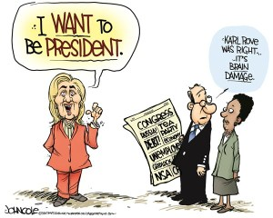 Makes sense to me ... but I have brain damage and DON'T want to be president, so ... Editorial cartoon by John Cole, Times-Tribune, Scranton, Pa.