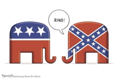 Nope, you're just not a real Republican if you're willing to compromise! Editorial cartoon by Clay Bennett, Chattanooga Times-Free Press.