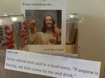 Jesus is cool and all, but not so chill when you steal soda. Image found on Technologies Nouvelles.