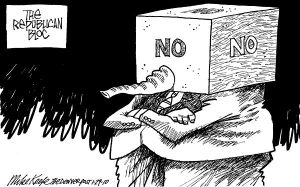 Naw, no one's ever intimated that the GOP's kinda hateful before ... Editorial cartoon by Mike Keefe, Denver Post.