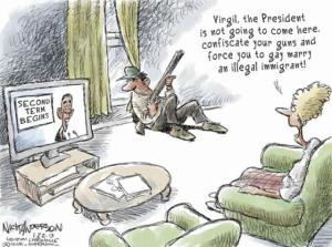 Naw, he won't do that till Jan. 19, 2016! Editorial cartoon by Nick Anderson, Houston Chronicle.