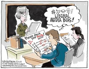 Since when are facts liberal? Editorial cartoon by Dan Wasserman, Tribune Content Agency.