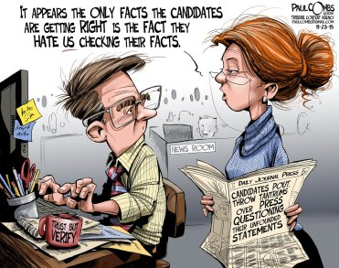 Shame on fact-checkers for calling politicians on their crap! Editorial cartoon by Paul Combs, Tribune Content Agency.