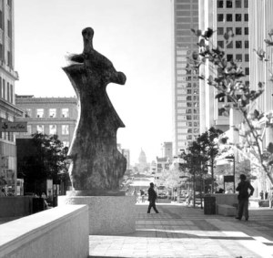 When I first started working at the paper, I could look down the street and see this. When the pedestrian mall on Capitol Avenue was reopened for traffic, Large Standing Figure: Knife Edge was moved to a new location in Little Rock. Image found on henry-moore.org.