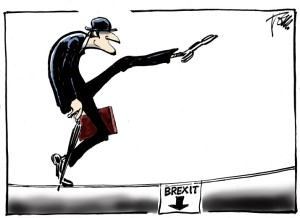 What will happen to the Ministry of Silly Walks? I need to know!!! Editorial cartoon by Tom Janssen.