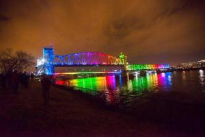 The Junction Bridge across the Arkansas River between Little Rock and North Little Rock was rainbow-lit on June 26, 2015, after the Supreme Court ruling.  Image found on tourdestfu.