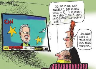 I'm going with the alien theory. Editorial cartoon by Mike Luckovich, Atlanta Journal-Constitution.