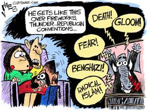 I'm with the dog. Editorial cartoon by Clay Jones, Claytoonz.com.