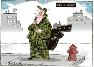But if I don't open-carry, how will people know what my irrational fears are???? Editorial cartoon by Bob Engelhart, Hartford Courant.