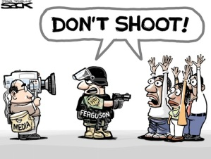 "Sometimes media professionals are an ""inconvenience,"" I guess. Editorial cartoon by Steve Sack, Minneapolis Star-Tribune."