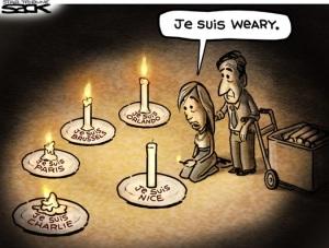 Moi aussi ... Editorial cartoon by Steve Sack, Minneapolis Star-Tribune.