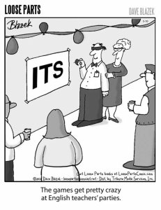 "If you stick that apostrophe after the ""s,"" they'll never find your body. Loose Parts cartoon by Dave Blazek."