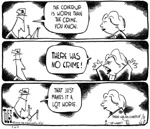 And yet so many people think she should have been in prison orange years ago (and a few apparently think she was there already). Editorial cartoon by Tom Toles, Washington Post.