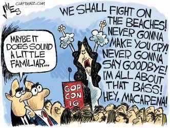 Ah, the Melania Rick Roll ... classic ... Editorial cartoon by Clay Jones, claytoonz.com.