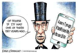 Thank God there was no texting then. Editorial cartoon by Dave Granlund.