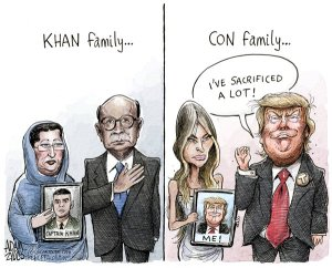 Apparently among the things he's sacrificed is a sense of common decency. Editorial cartoon by Adam Zyglis, Buffalo News.