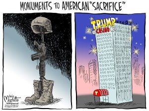 He's so right ... he's sacrificed lots of good taste. Editorial cartoon by Andy Marlette, Pensacola News-Journal.