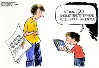 "While you're at it, kid, Google ""George Santayana."" Editorial cartoon by Jeff Koterba, Omaha World-Herald."