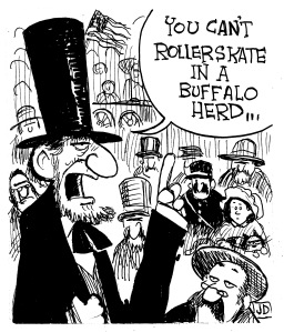 "Obviously, Roger Miller was cribbing his lyrics from Honest Abe. ""Dang me"" came from the notes Lincoln threw out for the Gettysburg Address, I hear. Awesome illustration by John Deering. See if you can spot Luke and me."