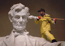 "I'm pretty sure Lincoln didn't say, ""Don't put that Q-Tip in your ear, dude."" I could be wrong, though. Image found on ricksalmon.com."