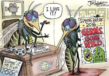 If we could just get rid of the skeeters, a lot of these things wouldn't be problems! Editorial cartoon by Joe Heller, Green Bay Post-Gazette.