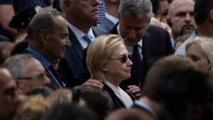 Hillary before leaving the 9/11 ceremony. Image found on CNN.