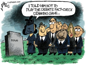 One more reason I'm glad I don't drink. Editorial cartoon by Clay Jones, Claytoonz.