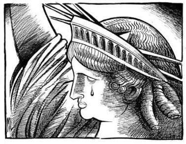 We'll never forget. Editorial cartoon by Mike Lane.